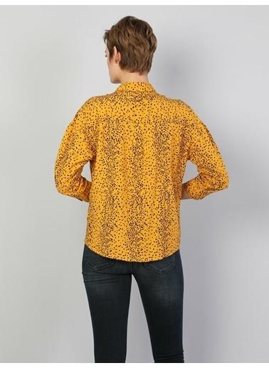 Colin's Relaxed Fit Shirt Neck Kadın Sarı Uzun Kol Gömlek Sarı